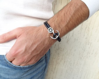 EXPRESS SHIPPING, Ship Rudder Bracelet, Men's Black Leather Bracelet, Ship Rudder Clasp,Anchor Bracelet, Cuff Bracelet, Gifts for Boyfriend,