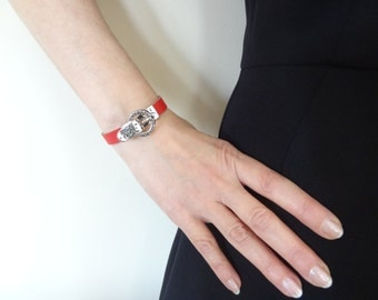 EXPRESS SHIPPING,Womens Red Leather Bracelet,Belt Clasp Bracelet,Magnet Bracelet,Cuff,Bangle Bracelet,Gifts for Girlfriend,Mother's Day Gift