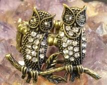 Owl Stretch Ring, Brass Tone, Clear Rhinestone, Birds, Animal Jewelry, Tree Branch, One Size, Boho Chic Jewelry, Fun, Bohemian, Artsy Rings