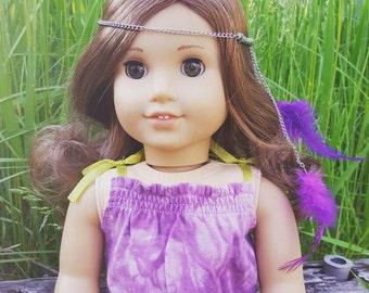 American girl purple feather head chain