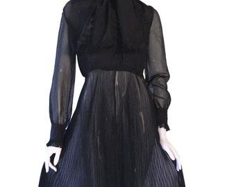 MISS DIOR Vintage 1970s Silk Chiffon Black Pleated Dress Size 8 UK