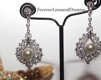 swarovski crystal pearl wedding earrings, wedding bridal earrings, bridal pearl drop earrings,  swarovski crystal earrings