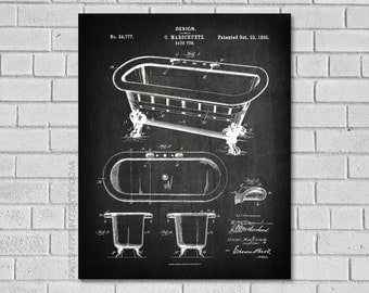 Bathroom Decor - Bath Tub Patent Print - Bath Decor - Bathroom Wall Art - Bathroom Poster - Historic Bathroom art - Bathroom - Patent HB777