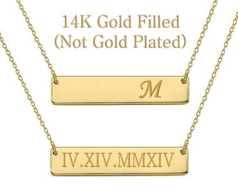 Sale Gold Bar Necklace, Personalized Name Necklace, Custom Name, Kim Kardashian style Nameplate, Monogram Necklace, Bridesmaid Gift