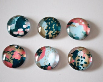FREE SHIPPING AUS - Beautiful Navy, Coral and Mint Print Glass Magnets - 6 Piece Glass Magnet Set - Artistic - Office Decor - Birthday Gifts