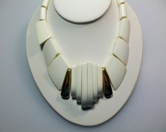 Big and Bold 80's!  Chunky Creamy White Plastic with Gold Tone Metal Accent Necklace Designer Signed Park Lane