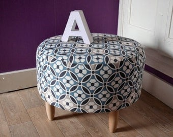 Pouf printed blue and beige flowers