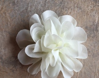 "4.2"" Chiffon flowers, IVORY, headband flowers, wedding flowers, ivory flowers,  headband supplies, flowers, material flowers, large flowers"