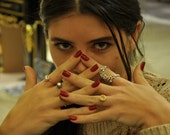 stacking rings gemstones rings , citrine ring , emerald ring , turquoise ring , zircon ring , rose golden , golden 14k , valentines giift