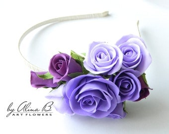 Purple Roses Hair Accessories from polymer clay