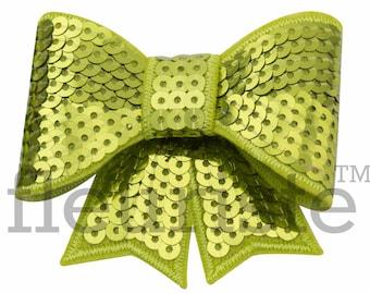 LIME GREEN 3 inch Sequin Bows, Mini Sequin Bows, Mini Bows, Shiny Bows, Fabric Bows, DIY Bows, Soft Bows, Wholesale Bows, Diy Headband