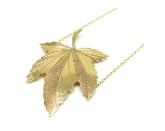 1960's Gold Necklace | Maple Leaf Necklace | Gold Conversion Necklace | Gold Necklace | Vintage Necklace