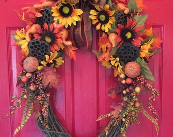 Fall Oval Wreath with Sunflowers and Gourds
