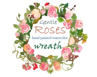 Pink Peach Rose Peony Wreath Wedding PNG Flowers Invitation Clipart Watercolor Digital Instant Download Images Pictures Art Commercial Use