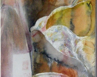 contemporary art modern painting watercolour pears and crystal