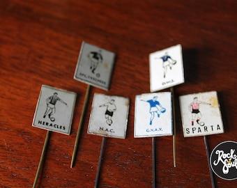 6 Vintage Dutch / Holland Football Pins 1940-50s