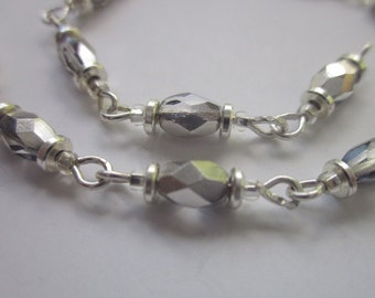 "Bracelet Finding, Almost-Complete Bracelet, Bermuda Blue Precosia Crystal Bead Connectors, 7.5"" Length"