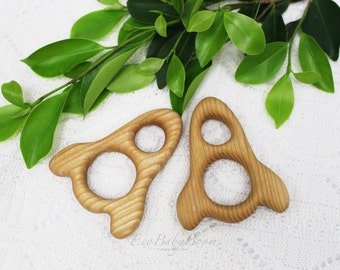 Wooden teether toy Rocket Eco friendly natural toys newborn gift handmade