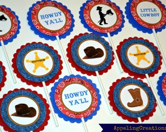 Cowboy Cupcake Toppers, Cowboy Party, Cowboy Birthday, Cupcake Toppers, Cowboy Boots, Sherriff Star, Boys Birthday, Cowboy Hat Toppers