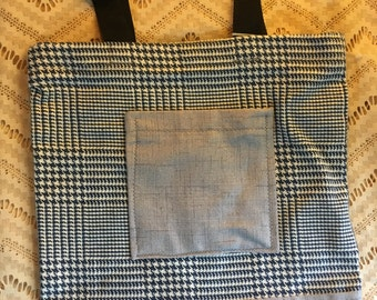 Dashing Houndstooth Tote - Navy, Grey, White, Black - Woven Fabric