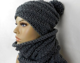 BOBBLE Hat * slouch * Beanie * LOOP * SNOOD * cowl * set 2 pieces * handmade *.