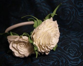 White Roses Headband