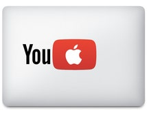 2 x YouTube MacBook Decal Sticker With Glowing Apple Logo (Pack of 2)