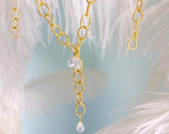 Y gold necklace with White Topaz briolettes