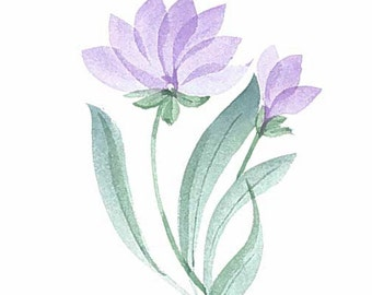 Original watercolor greeting card. Can be personalized. Not a print. Delicate pastels purple