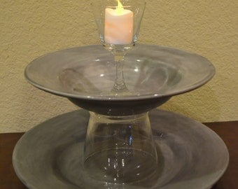 Custom Made Grey Tiered Stand with Candle Holder to Top it Off