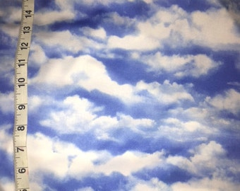 Cloud Print Blue White Sky Polyester Spandex Lycra Fabric Sky Photo Realistic