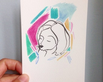 Original A6 Ink & Watercolour Illustration - Bright thinker