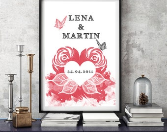 Personalized art print anniversary wedding day 'Watercolor of the Roses' mural