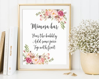 Mimosa Bar Sign, Bridal Shower Sign, Wedding Sign, Bubbly Bar Sign, Wedding Bar Sign, Wedding Decor, Floral Wedding Decor, Mimosa Bar Print