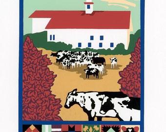 "Screen Print - ""Vermont Quilt"" Limited Edition Handmade Fine Art"