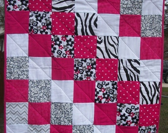Zebra, Pink, Grey, Black, White Baby Quilt