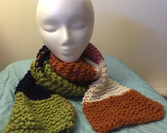 Multi-colored Scarf - Winter Scarf - Hand-Knit