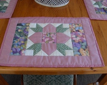 springtime quilted table placemats florals and lavenders set of 4