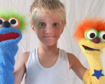 blue sock puppet, hand puppet, moving mouth puppet,  therapy and educational puppet