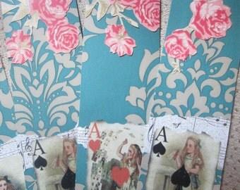 Alice in Wonderland vintage style bookmarks x 5