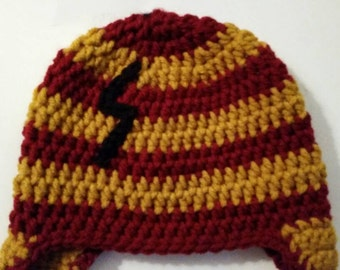 Harry Potter Inspired hat/baby hat/ infant winter hat/ gryffindor hat