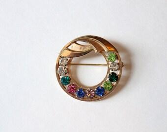 Vintage Gold Multi Color Rhinestone Pin