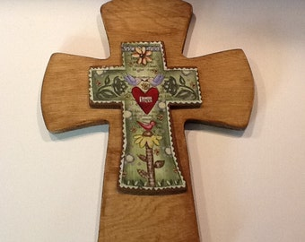 Wooden Stack Wall Cross