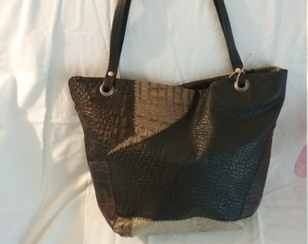 Handcrafted Scrap Leather Tote Bag