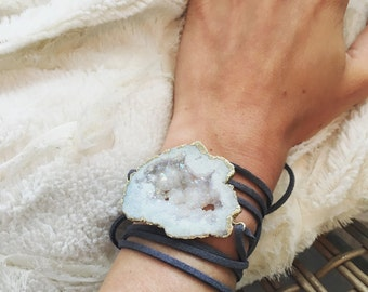 Druzy Stone Wrap Bracelet, leather suede cord