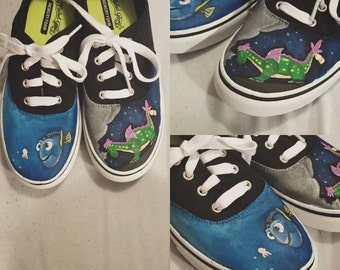 Custom Painted Disney Shoes - Finding Nemo and Pete's Dragon