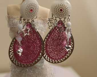 White Silver Pink earrings