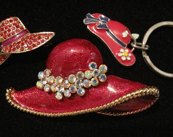 Red Hat Society Pin/Brooches and Key Chain Lot