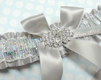 Silver prom garter,  Silver garter,  Garter for prom 2017, 2017 prom garter