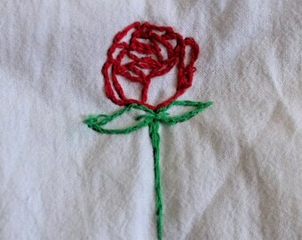 Rose embroidery patch